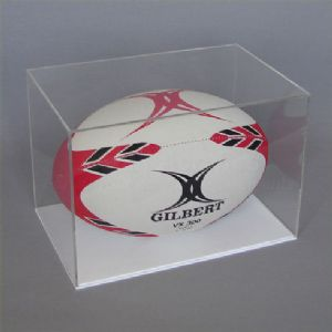 Rugby Ball Display Case With White Base